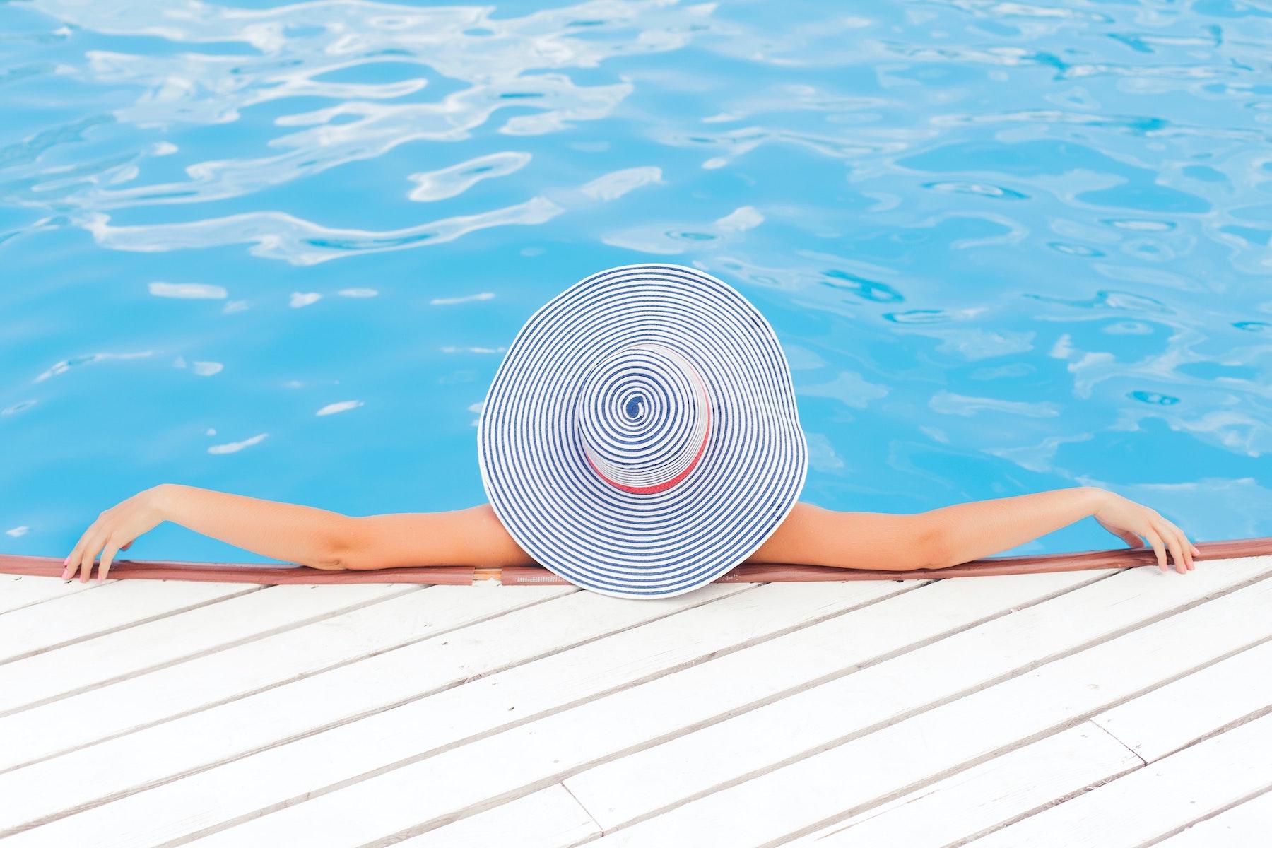 Woman relaxing in pool